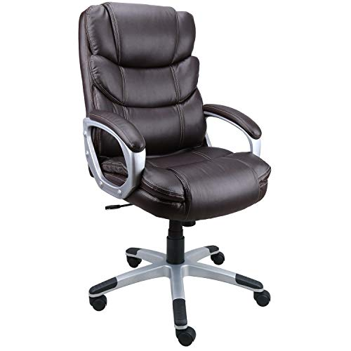 - Becozier Executive Office Chair with Brown Leather, Swivel Desk Chair for Home and Office, Ergonomic Computer Chair with Adjustable seat