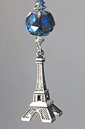Paris France Brilliant Blue Glass & Silver French Eiffel Tower with Iridescent Rhinestone Ceiling Fan Pull Chain
