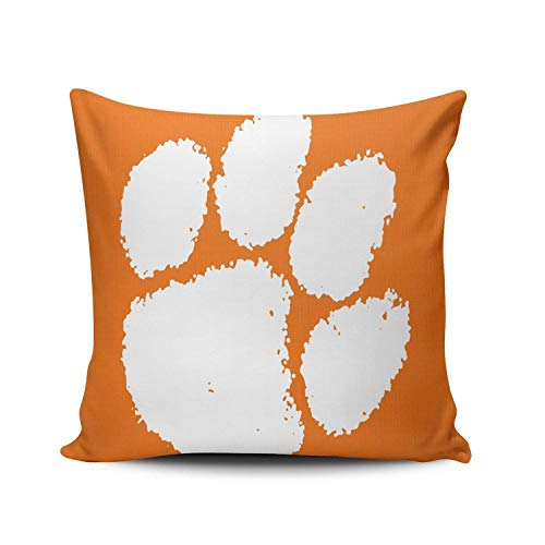 Acelive 16 x 16 Inches Custom Fashion Home Decor Pillowcase Orange Clemson Tigers Square Throw Pillow Cover Cushion Case for Sofa Happy Fall
