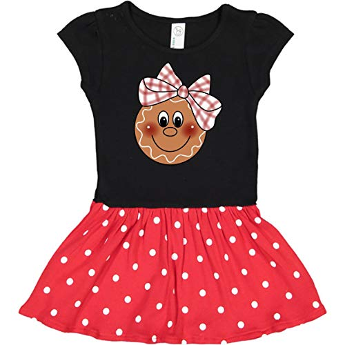 inktastic - Gingerbread Face Toddler Dress 5/6 Black & Red with Polka Dots 42 ()
