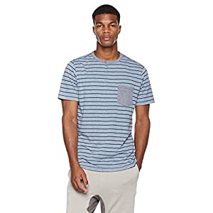 Rebel Canyon Young Men's Printed Stripe Cotton Blend Pocket Tee Henley Top X-Large Blue Heather