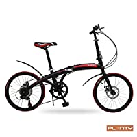 PLENTY Bicicleta Plegable Ligera Portatil RIN 20 Shimano 7 Velocidades Color Negro