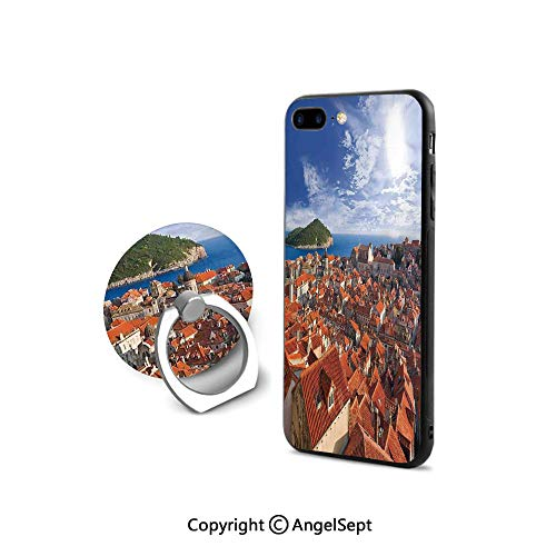 Protector for iPhone 7/8 with 360°Degree Swivel Ring,Sunset of Dubrovnik City with The Island Mediterranean Culture Old Town Print Deco,for Girls,Multi