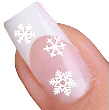 White Snowflake Winter Nail Stickers Art Decals Amazon