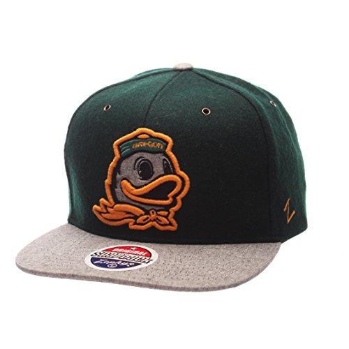 Zephyr NCAA Oregon Ducks Adult Men's Executive Snapback Hat, Adjustable Size, Team Color/Gray