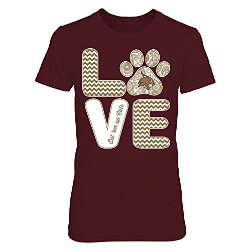 FanPrint Texas State Bobcats T-Shirt - Love - Paw - Women's Tee/Maroon/M (Texas State University Tshirt)