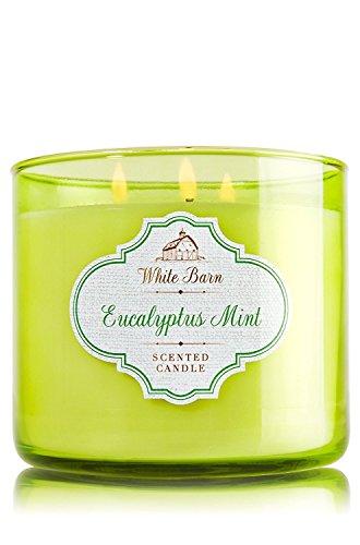 Bath & Body Works White Barn 3 Wick Candle Eucalyptus Mint 14.5 oz
