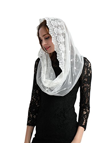 Ivory Embroidered Veil Chapel Veil Catholic Chapel Mantilla Church Veil V01(Style two) (Ivory) by Lemandy