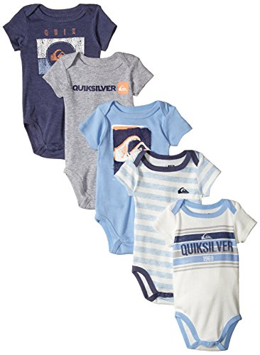 Quiksilver Baby-Boys Newborn 5 Pack Bodysuits Blue Navy Group