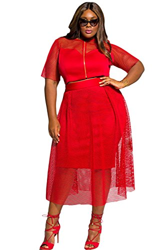 Prime Leader Sexy Red Mesh Joint Plus Crop Top Skirt Set(Red,(US 22-24)XXXL)For Women