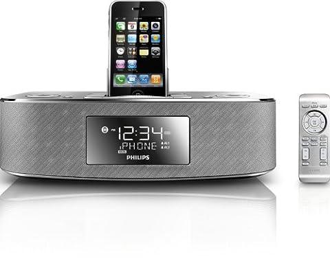 Philips DC290/37 30-Pin iPod/iPhone Alarm Clock Speaker Dock (Brushed Aluminum) (Ipod Dock With Clock)