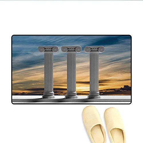 Door Mats,Antique Theme Three Ancient Marble Pillars at Sunset Sky Digital Image,Bath Mat Bathroom Mat with Non Slip,Apricot and Pale Grey,Size:24