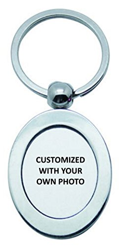 Silver Keychain - Personalized with Your Own Photo - Includes Gift Box - Stainless Silver Key Chain (Oval) by PhotoFactoryUS