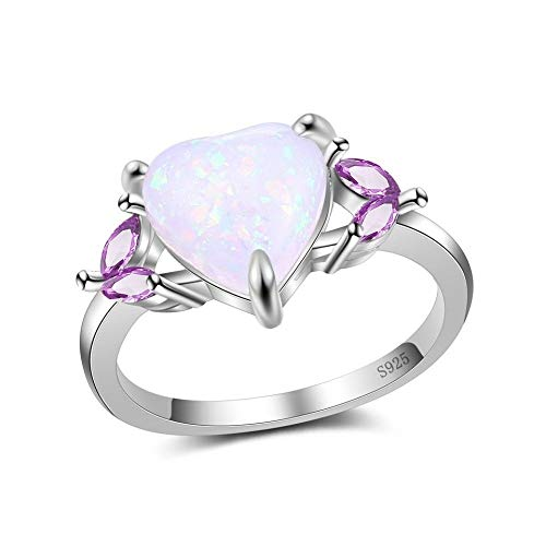 SISIBER Shiny Heart Shape Opal Rings 4 Purple Leaves Design 925 Sterling Silver Jewelry for Women Popular Party Occasion Suitable,6 (Design Opal Ring)