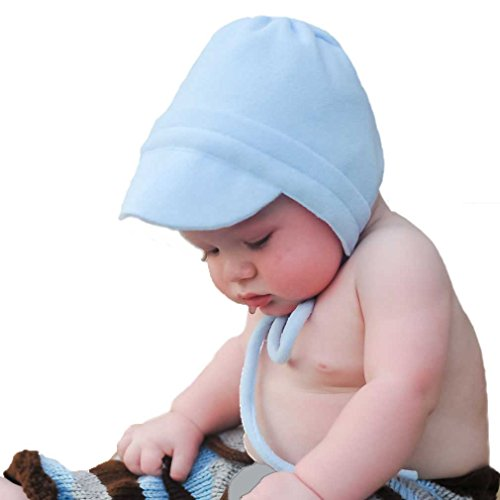 Huggalugs Baby Boys Light Blue Fleece Bonnet 3-6m ()