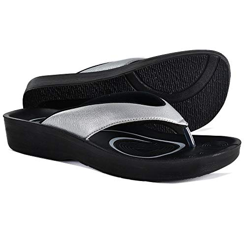 AEROTHOTIC Original Orthotic Comfort Thong Sandal and Flip Flops with Arch Support for Comfortable Walk (US Women 7, Pearly Silver)
