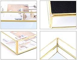 XISTORE Bandeja de Almacenamiento de Metal con Espejo Decorativo Metal dise/ño Vintage Dorado Color Dorado y Cobre Medium