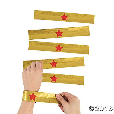 Gold Superhero Slap Bracelets - 12 pcs by Party Supplies (Wonder Woman Party Decorations)