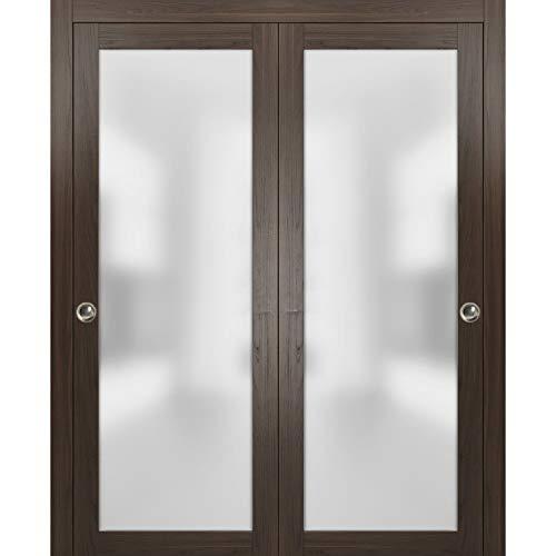 Closet Bypass Sliding Glass Doors 72 x 84   Planum 2102 Chocolate Ash   Rails Trims Pulls Hardware Set   Modern Solid Core Wood Interior Doors Frosted Glass