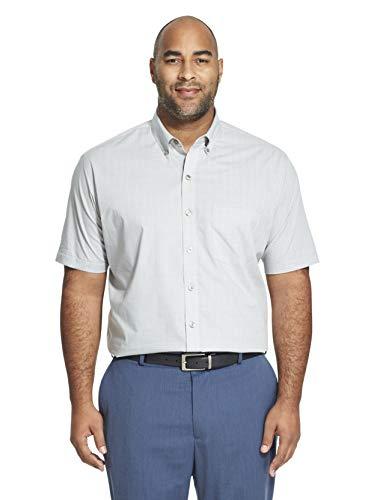 Van Heusen Men's Big and Tall Flex Short Sleeve Button Down Check Shirt, grey full moon, 2X-Large Big