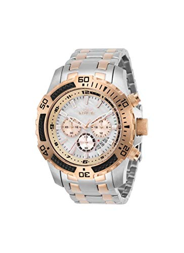 Gold Invicta Bracelets (Invicta 29289 Speedway Chronograph Quartz Movement Men's Watch with White Analog Dial and Two Tone Stainless Steel Silver and Gold Bracelet with Silver Case)