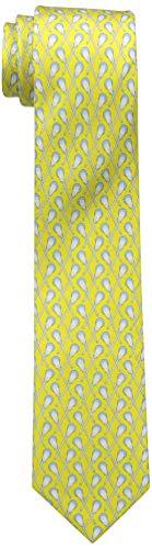 Lacrosse Silk Necktie Boy's Tie - 100% Silk Lacrosse Gift Designer Sports Neck Tie (Crossed Sticks) - Yellow
