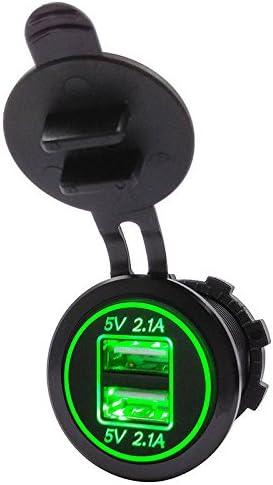 Iycorish 5v 4.2デュアル2usb充電器ソケットアダプター電源コンセント(12V 24V車用)緑