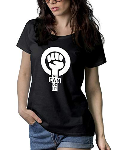 Womens Black Feminism T Shirts - We Can Do It Shirt   We Can Do, L