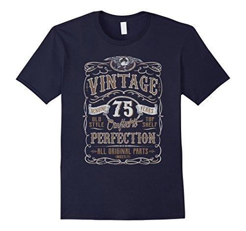 Mens Vintage 75th Birthday Gift Idea T Shirt XL Navy (75th Birthday Ideas)