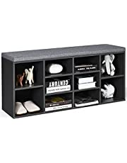 DORTALA Shoe Bench with Padded Cushions, 10-Cube Storage Bench Cabinet with Adjustable Shelves, Entryway Shoe Storage Bench with Cushioned Seat, Cube Organizer Rack Cabinet for Living Room Bedroom, Hallway, Grey