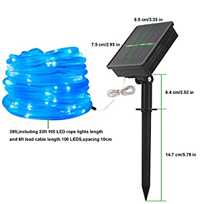 MEIKEE 33ft Dimmable Solar Rope Lights,Halloween Decoration Light ,100 LED, 8 Lighting Modes, Light Sensor, Waterproof, Ideal for Decorations Christmas,Gardens, Lawn, Patio, Weddings, Parties(Blue)