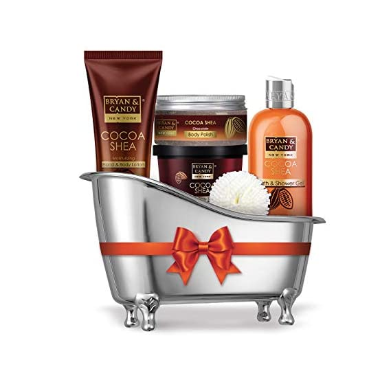 Bryan & Candy New York Cocoa Shea Bath Tub Kit for Complete Home Spa Experience (Shower Gel, Hand & Body Lotion, Sugar Scrub, Body Polish)