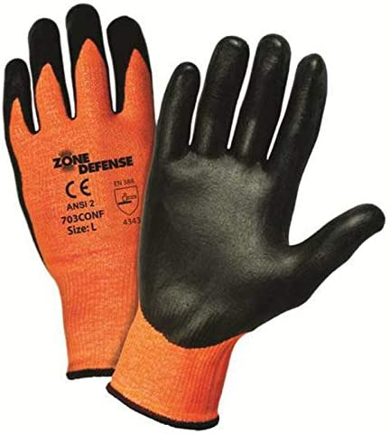 West Chester Medium Zone Defense Cut And Abrasion Resistant Orange Hppe Black Nitrile Foam Palm Coated Work Gloves With Elastic Knit Wrist Amazon Com