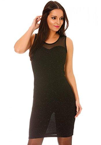 dmarkevous - Robe de soirée courte et moulante pailletée noire à empiècement tulle - S-M, noir