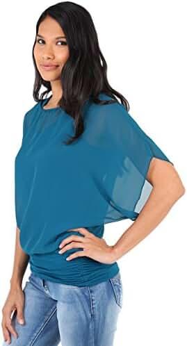 KRISP Women Chic Loose Casual Dolman Batwing Sheer Chiffon Tunic Top Blouse Plus