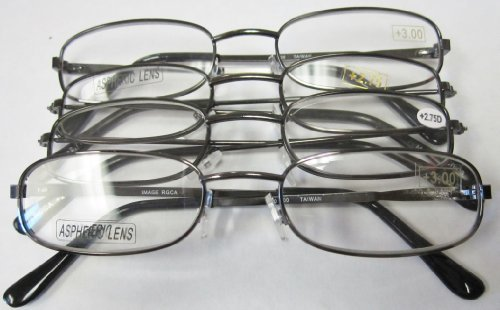 4 for $7.00!- Silver Metal Reading Glass (+3.75) by Reading Glass Company of ()