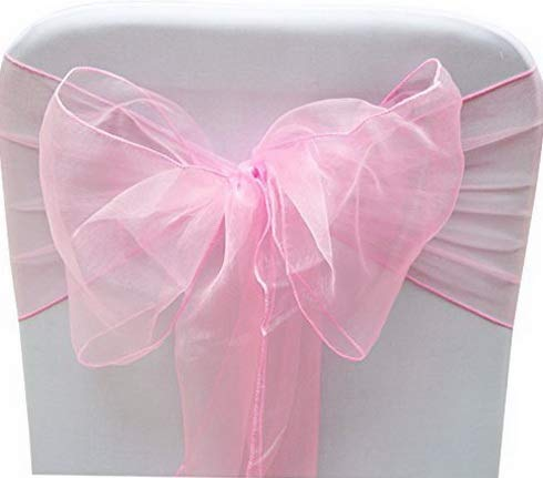 (Mikash Set of 10 Chair Bows Sashes Tie Back tive Item Cover ups for Wedding Reception Events Banquets Chairs Tion Pink | | Model WDDNG - 959)