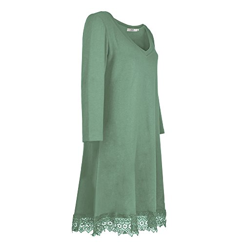 Dreaweet Women's Long Sleeve V-Neck A-line Lace Loose Casual Dress(FBA), Green, X-Large