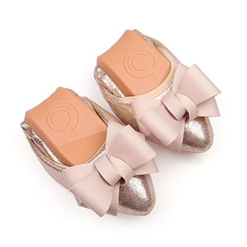 FLYRCX Acentuados Arco Dulce Plegable Zapatos Planos portátiles Suave y cómodo Fondo Suave Casual Mujeres Embarazadas Zapatos Zapatos de Ballet Solo Zapatos Gold