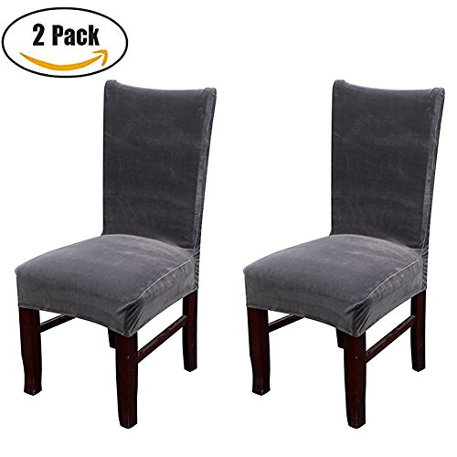 Dinning Room Velvet Chair Seat Protector Covers Soft Hairy Parsons Dining Chair Stretch Slipcovers, Armless, Dark Grey Set of 2