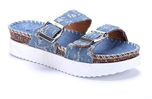 826b0e815555d4 Schuhtempel24 Damen Schuhe Pantoletten Sandalen Sandaletten Flach Schnalle  Blau
