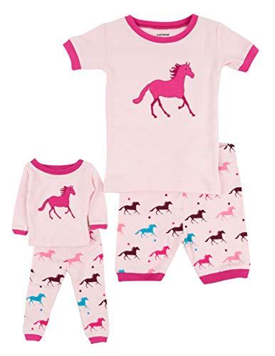 Leveret Shorts Matching Doll & Girl Horse 2 Piece Pajama Set 100% Cotton Size 3 -