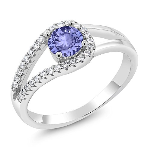 925 Sterling Silver Round Blue Tanzanite Gemstone Birthstone Ring (0.81 Cttw, Available in size 5, 6, 7, 8, (Tanzanite Platinum Ring)