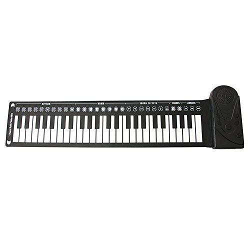 49-Key Portable Roll up Foldable Electric Music Keyboard Piano Black