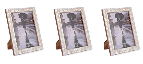 (Picture Frames Photo Frame Mother of Pearl Chic Shabby Vintage Wooden Handicrafts Home Handmade Natural Classic Size 5x7 Inch - Set of 3 Pieces)