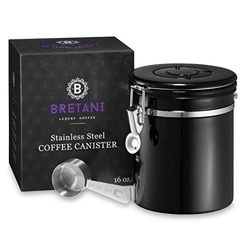 Black Canister - Bretani 16 oz. Stainless Steel Coffee Canister & Scoop Set - Medium Airtight Kitchen Storage Container for Storing Beans & Grounds - Black