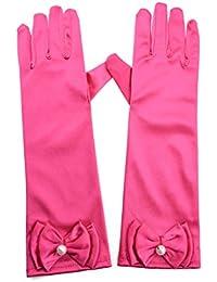 Greenmoe Girls Long Satin Finger Bowknot Formal Pageant Kids Gloves Rose