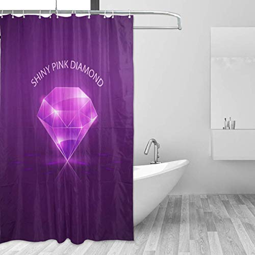 Diamond Toss Wallpaper - SZZWY Diamond Purple Shower Curtain 3D Printing Waterproof Coated Polyester Fabric Bathroom with 12 Hooks 71 inches