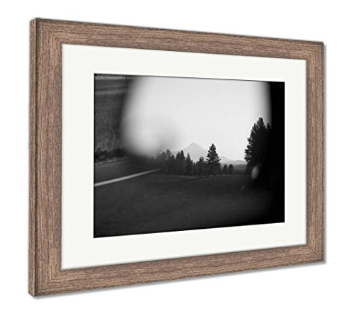 (Ashley Framed Prints Mount Hood Seen in Car Mirror, Wall Art Home Decoration, Black/White, 26x30 (Frame Size), Rustic Barn Wood Frame, AG6509956)