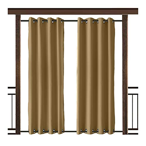 TWOPAGES Outdoor Curtain Antique Bronze Grommet Waterproof Drape(Both Top and Bottom) Wheat 84